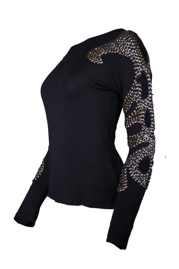 BLACK RAFIA SWEATER