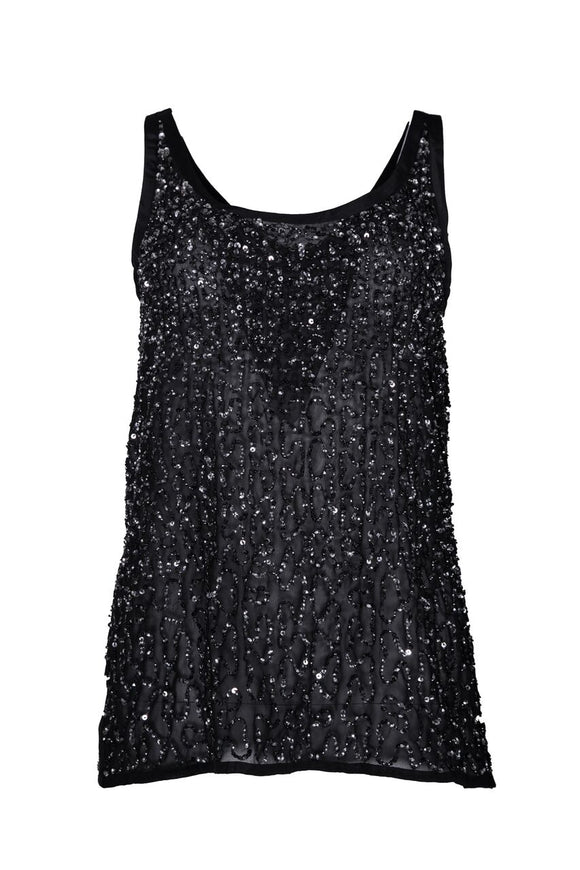 BLACK SEQUINED TANK