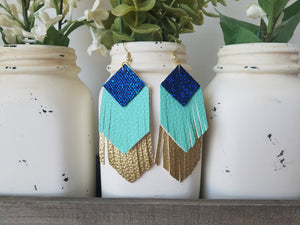 Royal Blue and Mint Fringe