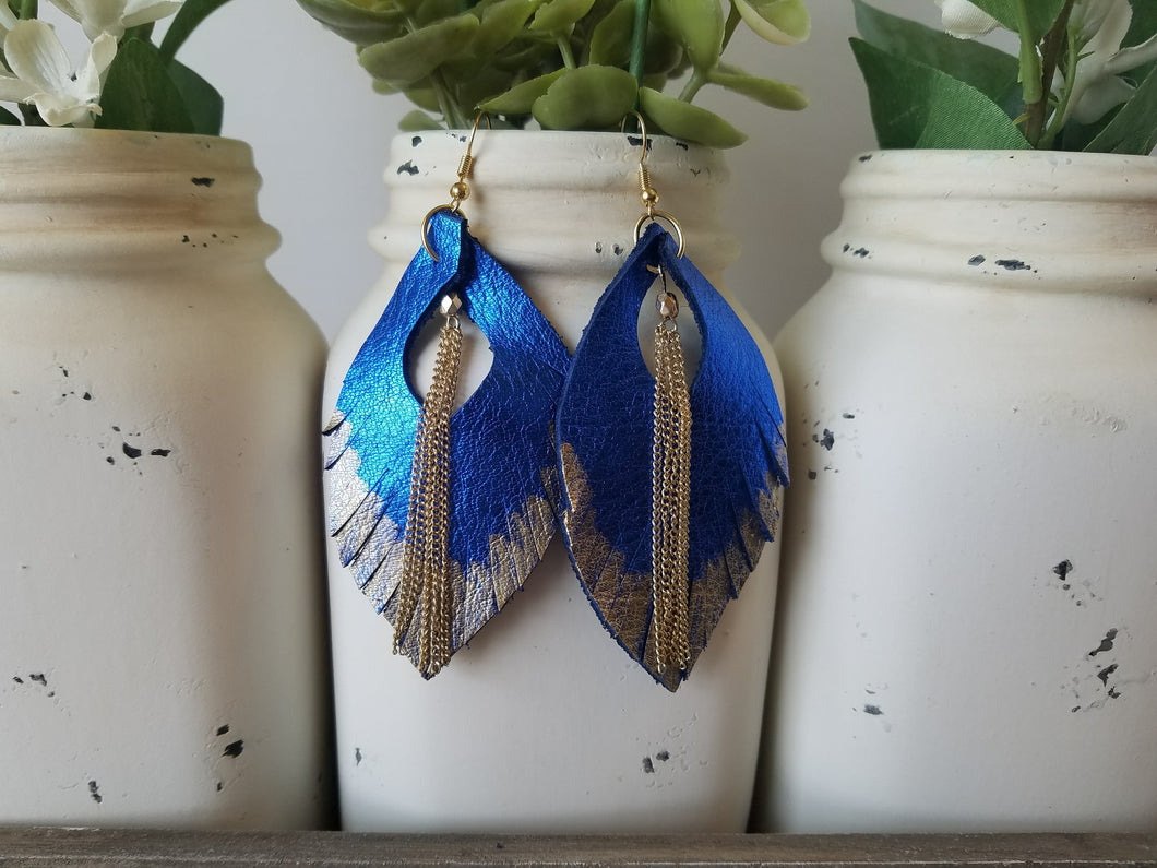 Gold Dipped Blue Feathers with Chains