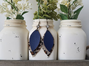 Navy and Leopard Leaf Dangles
