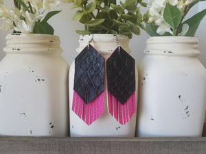 Black Snakeskin over Hot Pink Fringe
