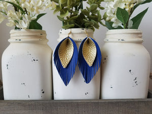 Gold over Blue Pinched Feathers