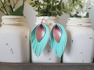 Mint and Rose Gold Pinched Feathers