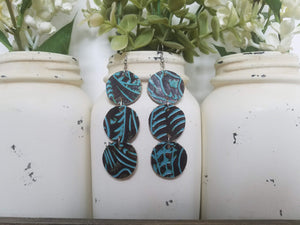 Turquoise and Brown Tooled Round Dangles