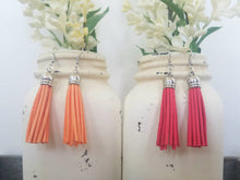 Peach and Coral Leather Tassels