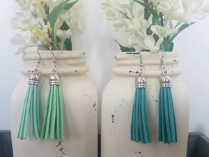 Mint and Teal Leather Tassels