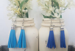 Blue Leather Tassels