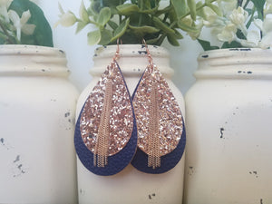 Rose Gold over Navy Teardrops