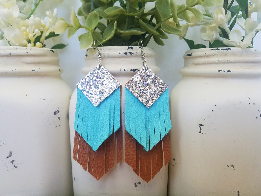Silver, Turquoise, Brown Fringe