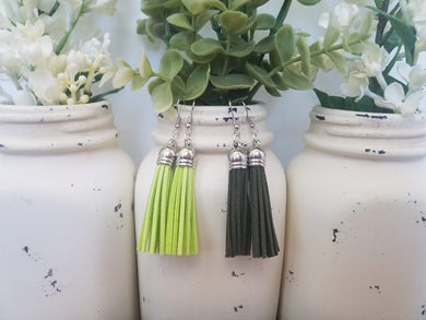 Green Leather Tassels