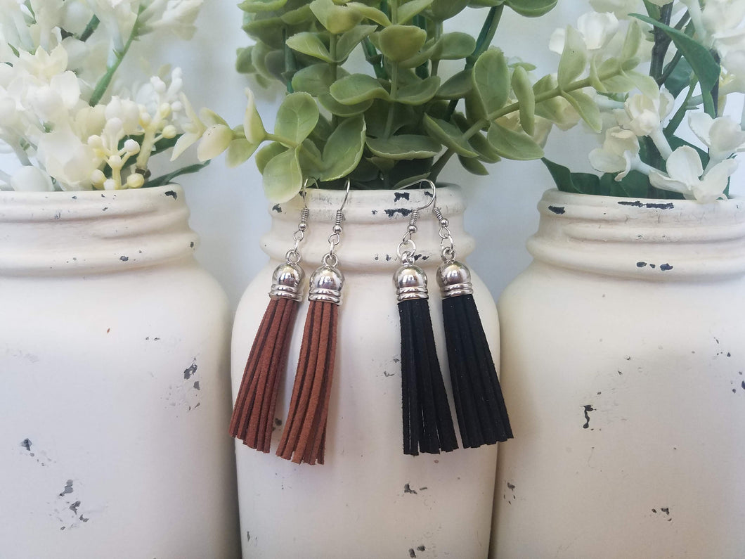 Black and Brown Leather Tassels