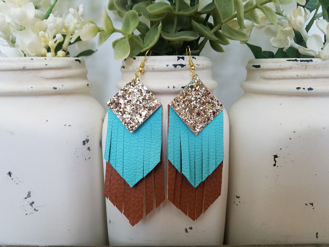 Bronze, Turquoise, Brown Fringe
