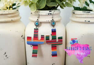 Serape Cactus Earrings