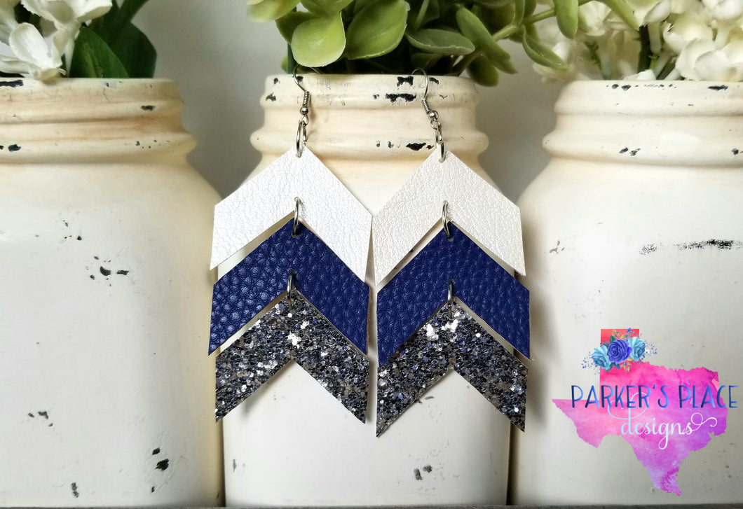 White, Navy, Silver Chevron