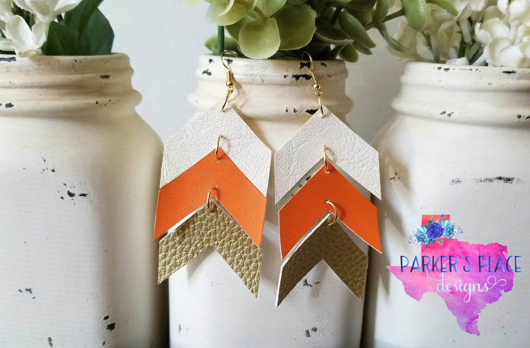 White, Orange, Gold Chevron