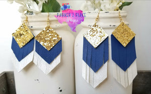 Gold, White, Blue Fringe
