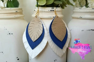 Gold, Royal Blue, and White Leaf