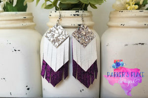 Silver, White, Purple Fringe