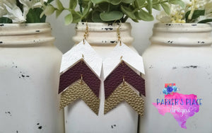 White, Burgundy, and Gold Chevron