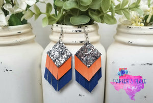 Silver, Orange, Royal Blue Fringe