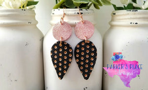 Rose Gold Polka Dot Dangles
