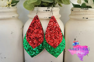 Green and Red Glitter Petal