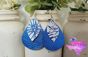 Royal Blue Leaf over Blue and White Firecracker Teardrop