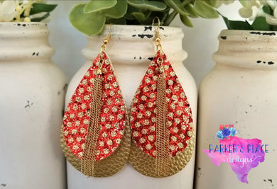 Red and Gold Polkadot Teardrops