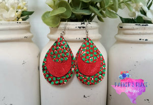 Red and Green Polkadot Teardrops