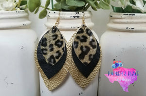 Leopard, Black, and Gold Feathered Leaf