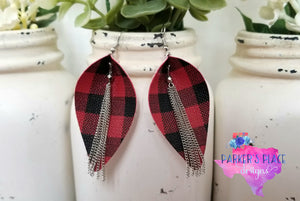 Buffalo Plaid Silver Pinched Leaf