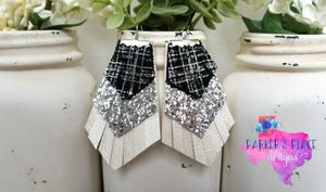 Plaid, Silver and White Fringe