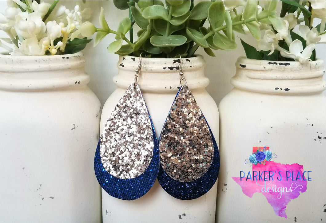 Silver and Royal Blue Glitter Teardrops