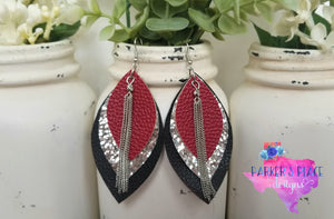 Crimson, Silver, Black Leaf