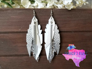 Silver and White Half Leaf