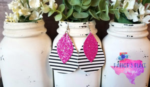 Pink Leaf over Black and White Striped Teardrop