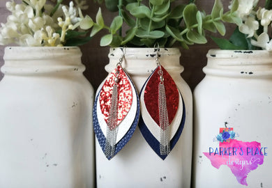 Red, White, Navy Leaf