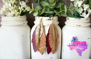 Burgundy and Cork Layered Leaf