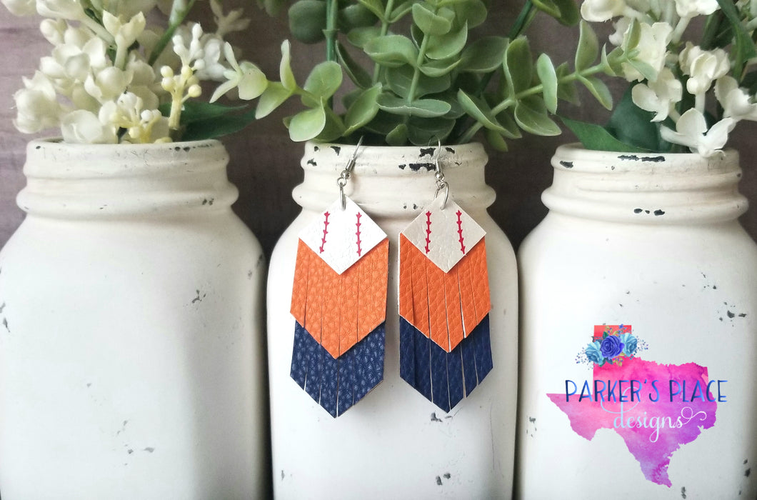 Baseball White, Orange, Navy Fringe