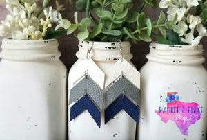 White, Grey, Navy Chevron