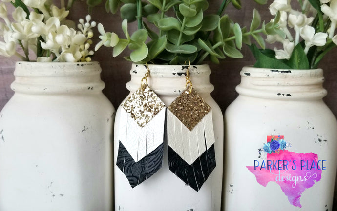 Bronze, White, Black Fringe