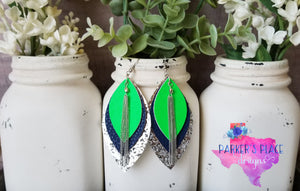 Green, Navy, Silver Leaf