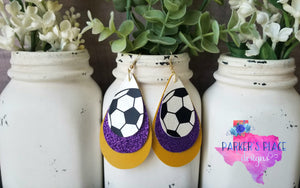 Soccer, Purple, Gold Teadrops