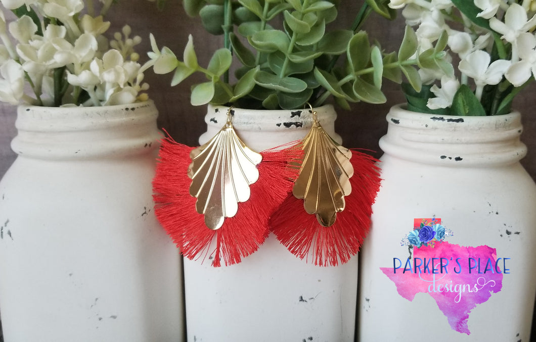 Red Peacock Thread Tassels