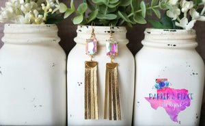 Opal and Gold Fringe Dangles