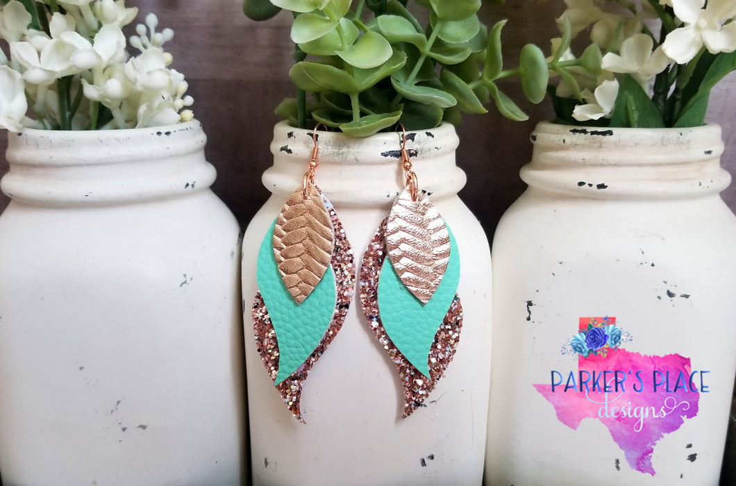 Rose Gold and Mint Layered Wings