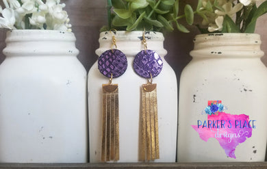 Purple and Gold Fringe Dangles