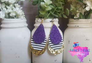 Purple, Stripes, and Gold Teardrops
