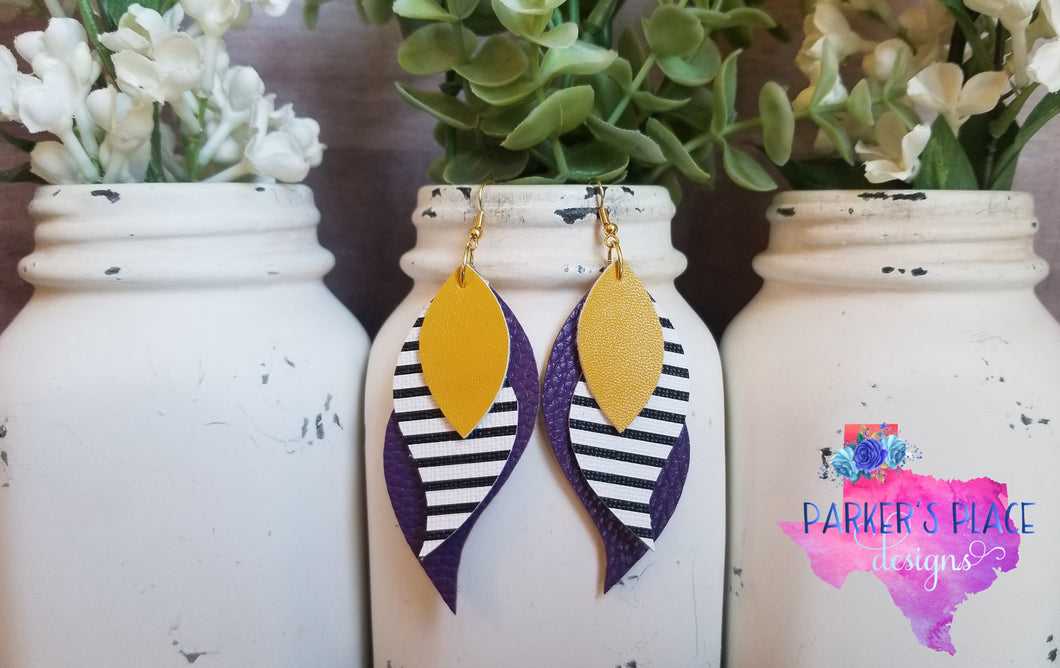 Purple, Stripes, and Yellow Layered Wings